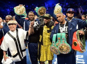 mayweather with belts