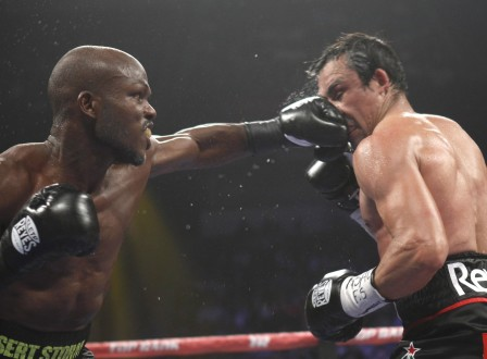 Bradley Jr. punches on Marquez during their title fight at the Thomas & Mack Center in Las Vegas