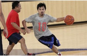 Manny Pacquiao playing basketball