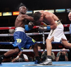 """June 27, 2015, Carson, Ca.    --  Timothy """"Desert Storm"""" Bradley Jr. wins a 12-round unanimous decision over   Jessie Vargas , Saturday at StubHub Center in Carson, Calif.         ---   Photo Credit : Chris Farina - Top Rank (no other credit allowed)  copyright 2015"""
