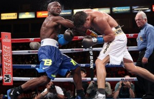 "June 27, 2015, Carson, Ca.    --  Timothy ""Desert Storm"" Bradley Jr. wins a 12-round unanimous decision over   Jessie Vargas , Saturday at StubHub Center in Carson, Calif.         ---   Photo Credit : Chris Farina - Top Rank (no other credit allowed)  copyright 2015"