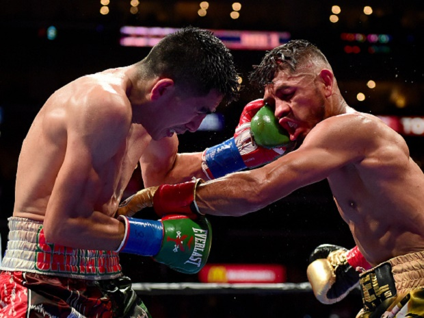 Leo Santa Cruz Abner Mares of Mexico during the WBC diamond featherweight and WBA featherweight championship bout at Staples Center on August 29, 2015 in Los Angeles, California.